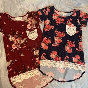 2 Size 7/8 glitter girl tunics